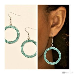 Bubbly Babe - Blue Rhinestone Fishhook Earrings